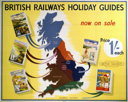'British Railways Holidays Guides', BR (SR) poster, 1948.