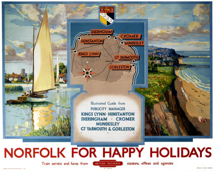 'Norfolk for Happy Holidays', BR poster, 1950s.