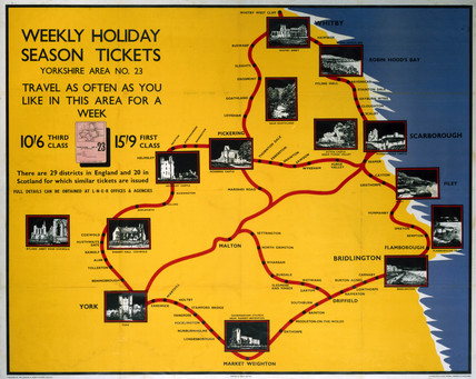 'Weekly Holiday Season Tickets - Yorkshire', LNER poster, 1923-1947.