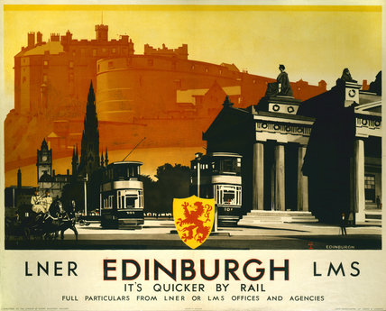 'Edinburgh - It's Quicker By Rail', LNER/LMS poster, 1923-1947.