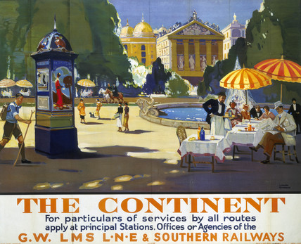 'The Continent', GWR/LMS/LNER/SR poster, 1938.
