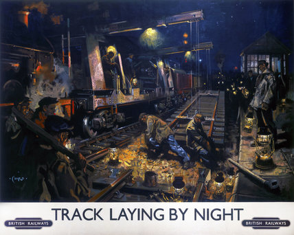 'Track Laying by Night', BR poster, 1950s.