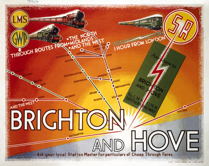 'Brighton and Hove', LMS/GWR/SR poster, 1935.