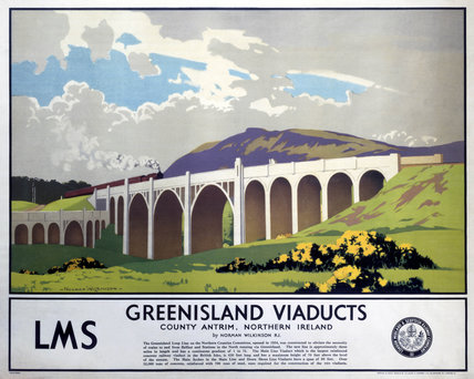 'Greenisland Viaducts', LMS poster, 1923-1947.