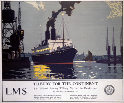 'Tilbury for the Continent', LMS poster, 1923-1947.