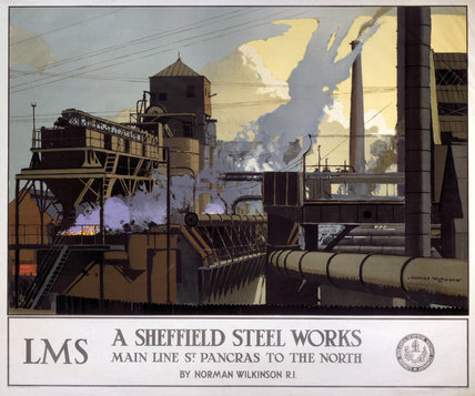 'A Sheffield Steel Works', LMS poster, 1923-1947.