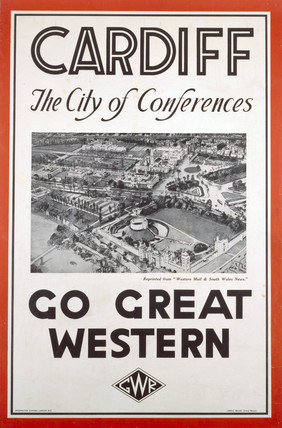 'Cardiff - The City of Conferences', GWR poster, 1923-1947.