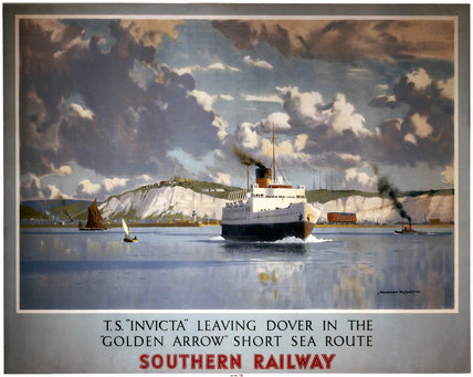 'TS Invicta leaving Dover', SR poster, 1946.