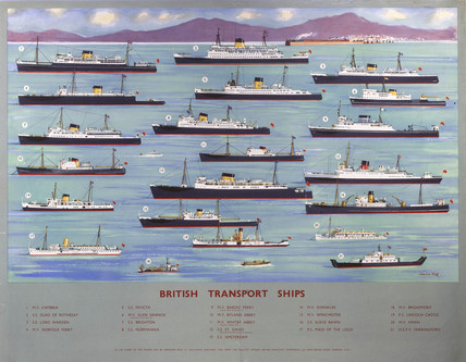 British Transport Ships', BR poster, 1950s.