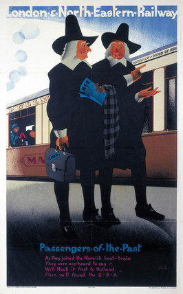 'Pasengers of the Past - the Pilgrim Fathers', LNER poster, 1929.