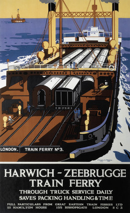 'Harwich/Zeebrugge Train Ferry', LNER poster, c 1930.