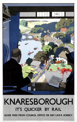 'Knaresborough: It's Quicker by Rail', LNER poster, 1928.