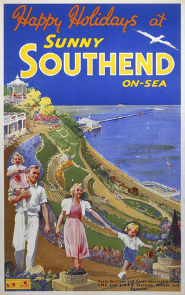 'Sunny Southend-on-Sea', LNER/LMS poster, c 1940s.