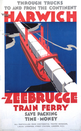 'Harwich-Zeebrugge Train Ferry', LNER poster, 1923-1947.