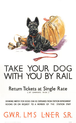 'Take Your Dog', GWR/LMS/LNER/SR poster, c 1935.