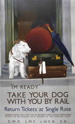 'Take your Dog with you by Rail', GWR/LMS/LNER/SR poster, 1923-1947.