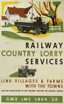 'Railway Country Lorry Services', GWR/LMS/LNER/SR poster, 1923-1947.