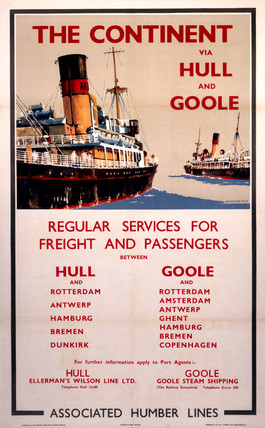 'The Continent via Hull and Goole', BR poster, c 1970s.