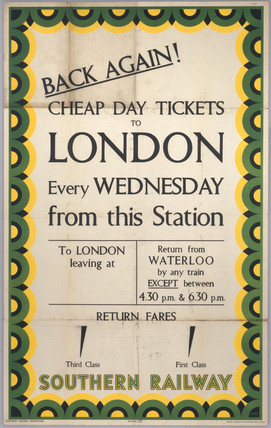 Back Again! Cheap Day Tickets to London, SR poster, 1939.