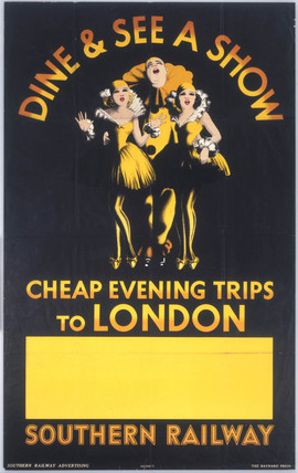 Dine & See a Show - Cheap Evening Trips to London', SR poster, 1936.