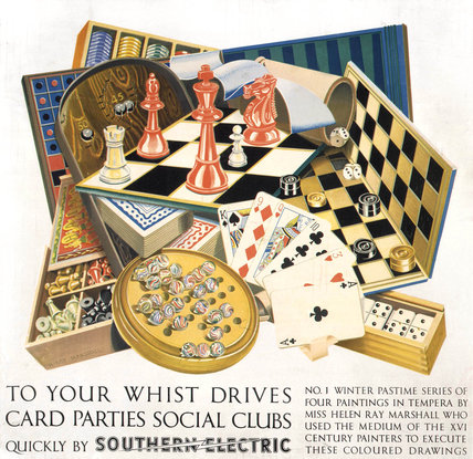 'To your Whist Drives, Card Parties, Social Clubs', SR poster, 1937.