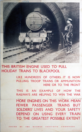 'This British Engine used to pull Holiday Trains...', REC poster, 1939-1945.