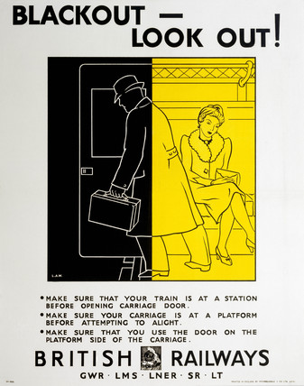 'Blackout - Look Out!', railway poster, 1939-1945.