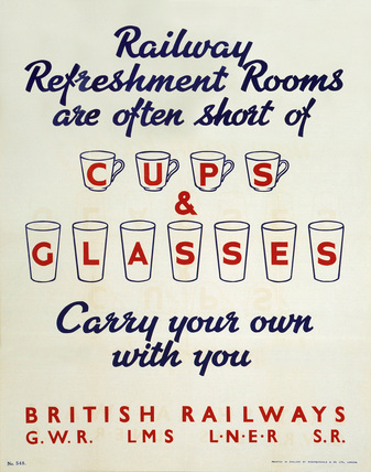'Railway Refreshment Rooms Are Often Short of Cups & Glasses', 1940s.