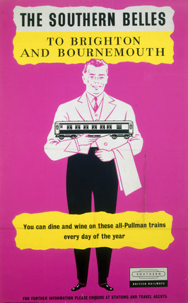 'The Southern Belles to Brighton and Bournemouth', BR (SR) poster, c 1960s.