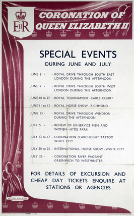 'Coronation of Queen Elizabeth II - Special Events', BR (SR) poster, 1953.