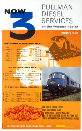 'Now 3 Pullman Diesel Services', BR poster, 1961.