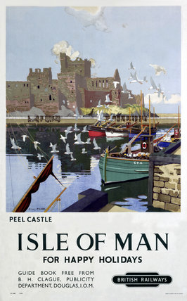 'Peel Castle, Isle of Man', BR poster, 1949.