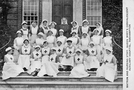 Matron and nursing staff, Queen Mary's Hospital, Roehampton, c 1915-1918.