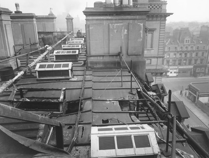 Air raid damage, roof of the Great Western Royal Hotel, London, 1944.