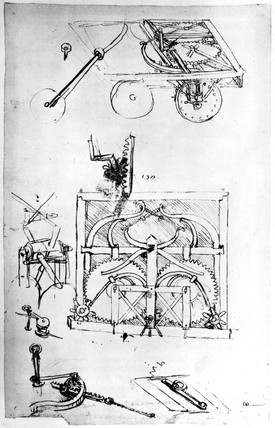 Mechanically propelled car and gear mechanisms, from da Vinci's notebooks.
