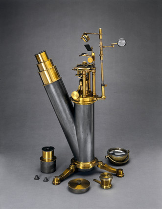 Large inverted microscope, c 1870.