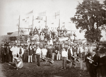 Barrow racing, Bosworth, Leicestershire, 1870s.