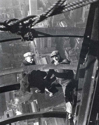 Two builders during the construction of the Empire State Building, c 1933.