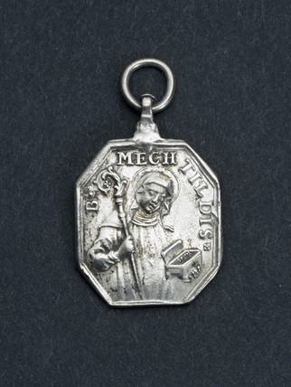 Silvered religious amulet worn as a pendant, 19th century.