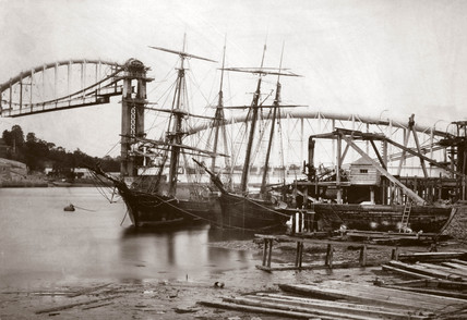 The Royal Albert Bridge under construction, 1858.
