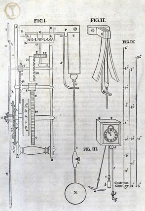 diagram of a pendulum clock, 1673  4 0 c m
