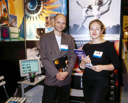 Science & Society Picture Library staff at a trade fair, London, 2001.