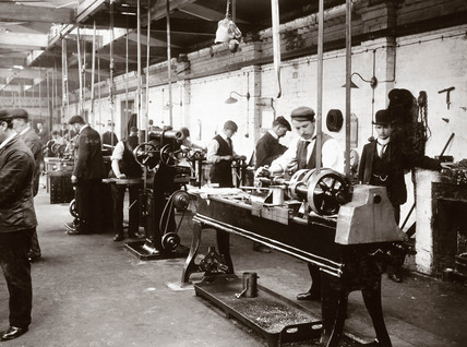 Machine tools and operators at Lillie Hall, Fulham, London, 1903.
