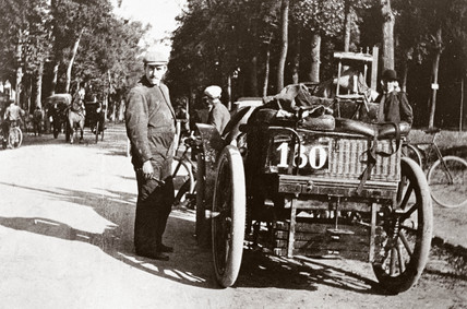 C S Rolls' 8 hp Panhard motor car during the Paris-Ostend race, 1899.