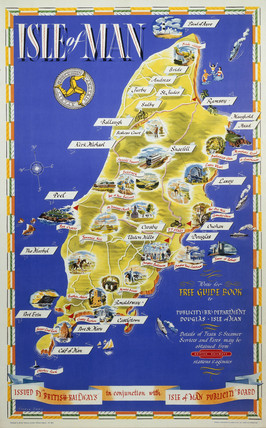 'Isle of Man', BR (LMR) poster, 1955. Poste