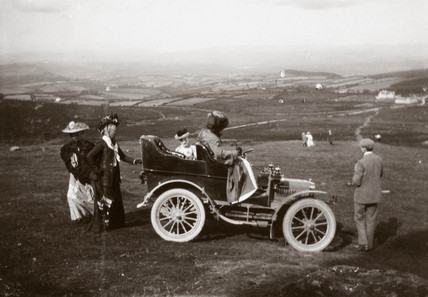 The first 10 hp Rolls-Royce motor car parked near Hay Tor, Devon, 1904.