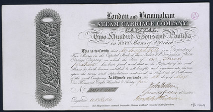London and Birmingham Steam Carriage Co share certificate, 1835.