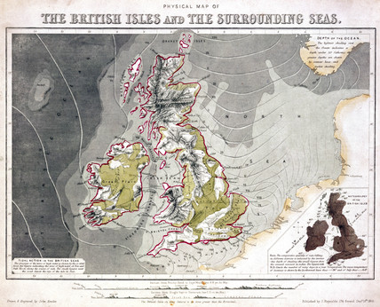 Physical map of the British Isles and the surrounding seas', 1851.