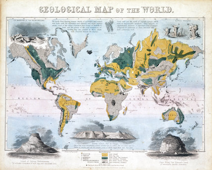 Geological Map Of The World 1850 By Emslie John At Science And