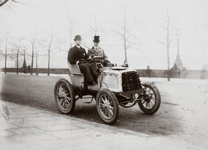 C S Rolls and Mr Ashby driving from Southampton to London, 1900.